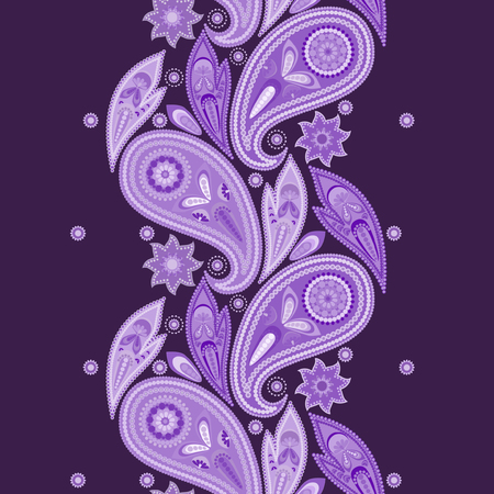 Paisley - vertical seamless pattern. Beautiful ethnic ornament . Vector print. Use for braid, tape, ribbon.