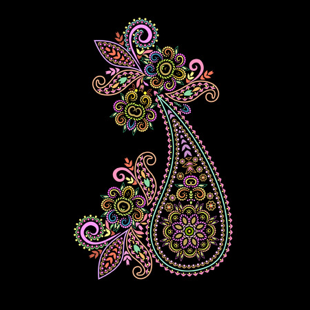 Paisley - colorful floral folk art pattern. Traditional ethnic ornament. Object isolated on black background. Vector print. Illustration