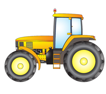 Tractor. Object isolated on white background.Vector print.