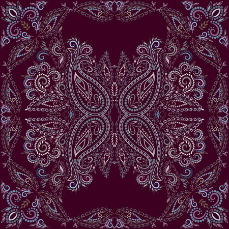 Bandana burgundy. Traditional ornamental ethnic pattern with paisley and flowers. Vector print square. Çizim