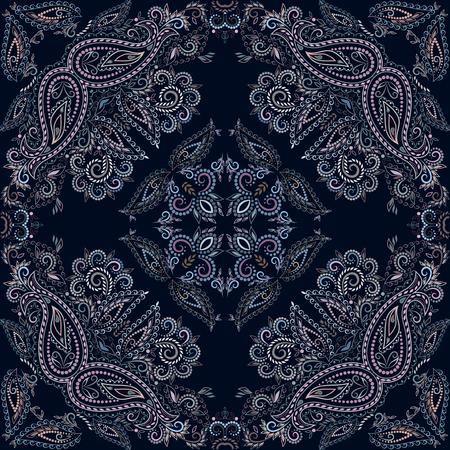 Bandana classic. Traditional ornamental ethnic pattern with paisley and flowers. Vector print square