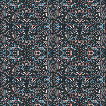 Seamless ornamental pattern with paisley and flowers. Vector clipart.