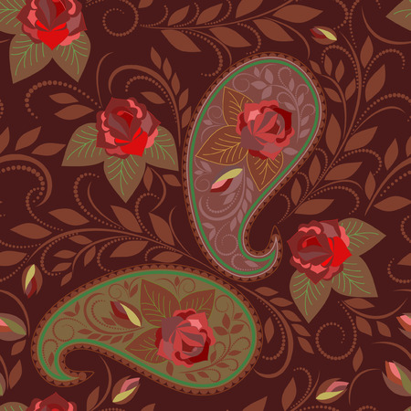 Seamless colorful ethnic pattern with paisley and roses . Vector background. Use for pattern fills, textile design, wallpaper.