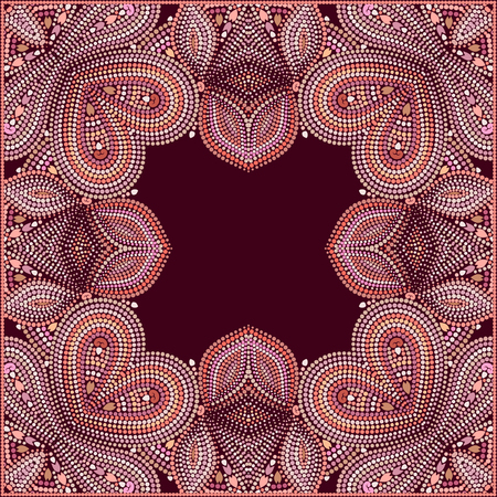 Bandana classy. Traditional ornamental ethnic pattern with dots and geometric elements. Vector print square for design.