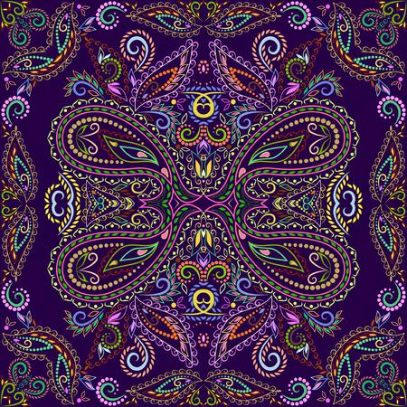 Bandana-Klassiker. Traditionelles dekoratives ethnisches Muster mit Paisley und Blumen. Quadrat mit Vektordruck Vektorgrafik