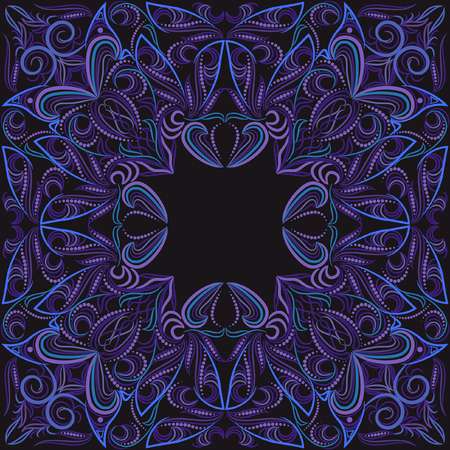 Pinstriping colorful bandana with ethnic elements for embroidery.