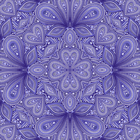 Mosaic seamless blue pattern with paisley and beads. Ornamental traditional etchnic design. Vector print. Illustration