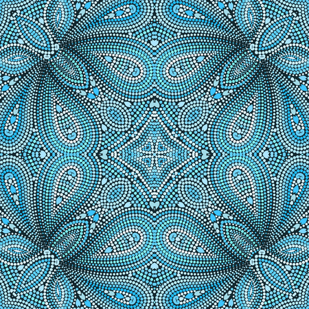 Mosaic seamless turquoise pattern with paisley and dots. Ornamental traditional etchnic design. Vector print. Ilustrace