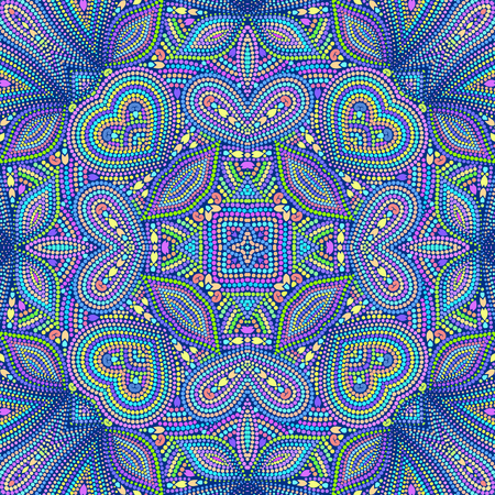Mosaic seamless colorful pattern with paisley and hearts. Ornamental traditional etchnic design. Vector print. Illusztráció