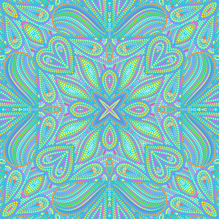 Mosaic seamless turquoise pattern with paisley and dots. Ornamental traditional etchnic design. Vector print. Illustration