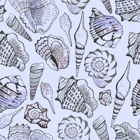 Seamless delicate sea shell pattern. Vector clipart. Illustration