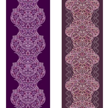 Vertical seamless lace pattern with beads and ethnic elements. Vector set of 2. Burgundy background. Use for embroidery, braid, tape, ribbon. Stock Illustratie