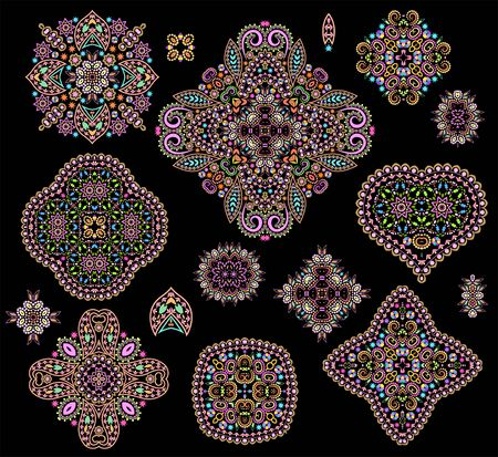 Bright bohemian ethnic cliche with hearts and decorative elements. Vector set of various ornaments, deco template. Oriental trendy print for decoration, gift, design, for womens clothing. Illustration