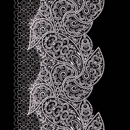 Seamless black and white vertical pattern with paisley and dots. Traditional ethnic ornament. Vector print. Use for wallpaper, pattern fills,textile design.