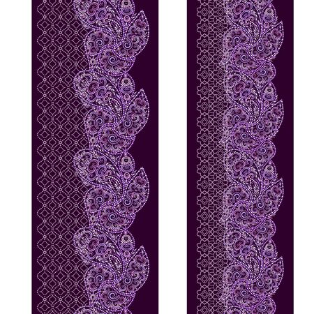 Vertical seamless lace pattern with beads and ethnic elements. Vector set of 2. Burgundy background. Use for embroidery, braid, tape, ribbon. Illustration