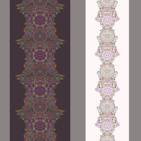 Vertical seamless lace pattern with beads and ethnic elements. Vector set of 2. Gray background. Use for embroidery, braid, tape, ribbon.