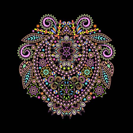 Neckline ethnic design. Floral colorful traditional pattern. Vector print with decorative elements and beads for embroidery, for womens clothing. Иллюстрация