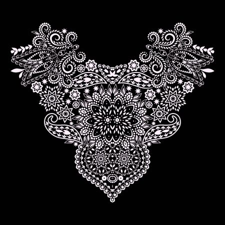 Neckline heart - ethnic design. Floral black and white lace pattern. Vector print with decorative elements for embroidery, for womens clothing. Иллюстрация