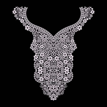 Neckline ethnic design. Floral black and white lace pattern. Vector print with decorative elements for embroidery, for womens clothing.