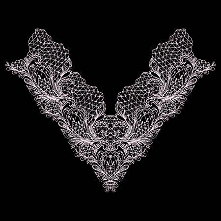 Conception de décolleté en dentelle. Motif floral délicat noir et blanc avec paisley. Impression vectorielle avec des éléments décoratifs pour la broderie, pour les vêtements pour femmes.
