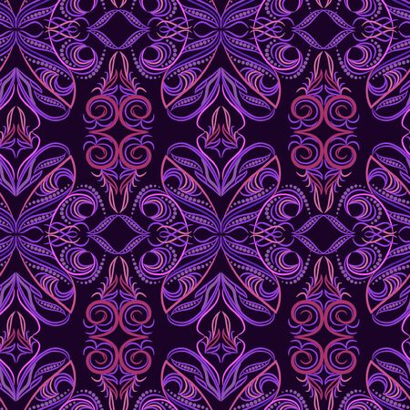 Seamless pattern with paisley. Phoenix bird in traditional ethnic ornament. Bright vector background - colorful print.