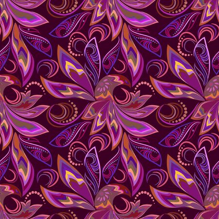 Seamless pattern with paisley. Phoenix bird in traditional ethnic ornament. Bright vector background - colorful print. Vektorgrafik