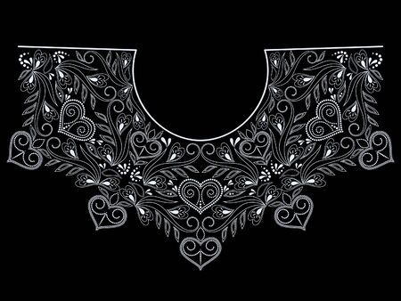 Neckline ethnic design. Geometric black and white lace pattern. Vector print with decorative elements and hearts for embroidery, for women's clothing.