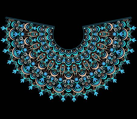 Neckline ethnic design. Folk art turquoise pattern. Vector print with decorative elements for embroidery, for women's clothing