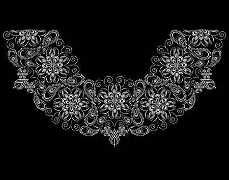 Conception de décolleté. Motif de dentelle florale noir et blanc. Impression vectorielle avec cachemire et éléments décoratifs pour la broderie, pour les vêtements pour femmes.