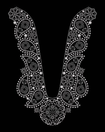 Neckline ethnic design. Geometric black and white lace pattern. Vector print with paisley and decorative elements for embroidery, for women's clothing.