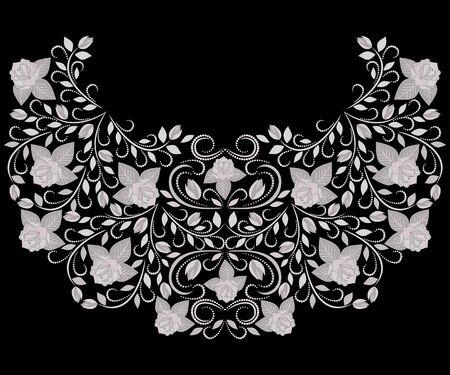 Escote de diseño étnico. Patrón tradicional floral blanco y negro. Impresión vectorial con rosas para bordado, para ropa de mujer.