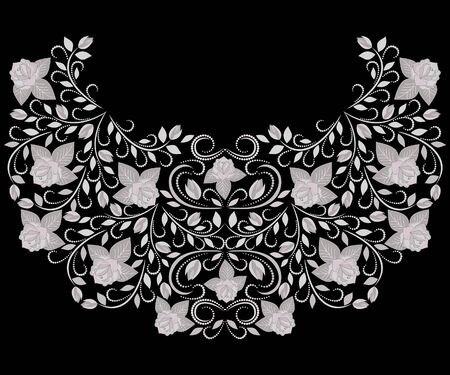Neckline ethnic design. Floral black and white traditional pattern. Vector print with roses for embroidery, for women's clothing.