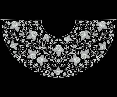Neckline ethnic design. Floral black and white traditional pattern. Vector print with roses for embroidery, for women's clothing. Illustration