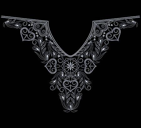 Décolleté design ethnique. Motif de dentelle géométrique noir et blanc. Impression vectorielle avec des éléments décoratifs et des coeurs pour la broderie, pour les vêtements pour femmes.