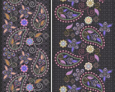 Seamless lace border with paisley and flowers. Traditional colorful ethnic ornament,. Vector print. Use for wallpaper, pattern fills,textile design. Stock Illustratie