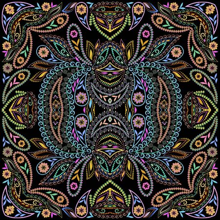 Bandana classy. Traditional ornamental ethnic pattern with folk art elements and paisley. Vector print square.