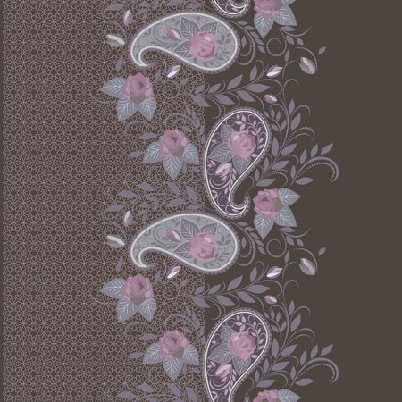 Seamless lace border with paisley and roses. Traditional colorful ethnic ornament,. Vector print. Use for wallpaper, pattern fills,textile design. Stock Illustratie