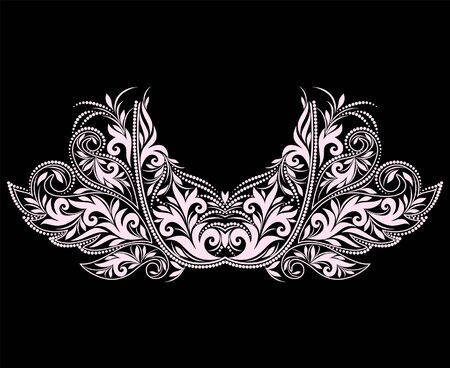 Neckline floral design. Black and white lace pattern. Vector print with decorative elements for embroidery, for women's clothing. Illustration