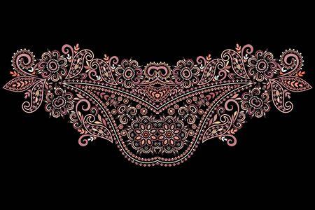 Décolleté design ethnique. Motif traditionnel coloré floral. Impression vectorielle avec des éléments décoratifs pour la broderie, pour les vêtements pour femmes.