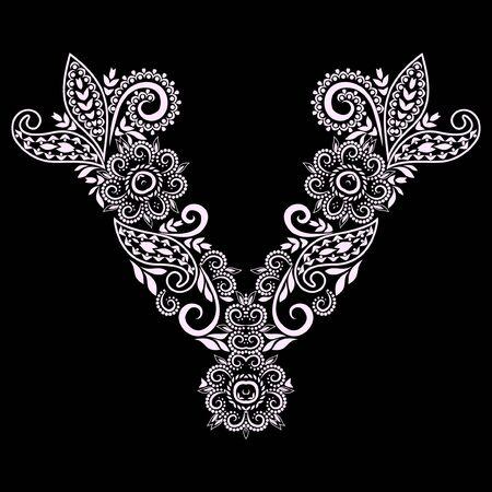 Décolleté - bijoux design ethnique. Motif traditionnel ornemental noir et blanc. Impression vectorielle avec des perles pour la broderie, pour les vêtements pour femmes.