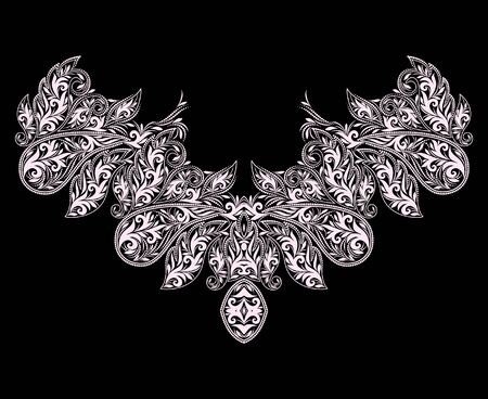 Neckline design. Black and white floral lace pattern. Vector print with paisley and decorative elements for embroidery, for women's clothing.