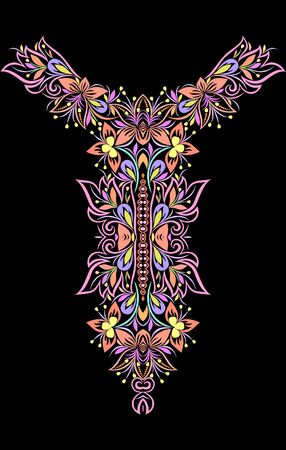 Neckline ethnic design. Floral colorful traditional pattern. Vector print with decorative elements for embroidery, for women's clothing. Vecteurs