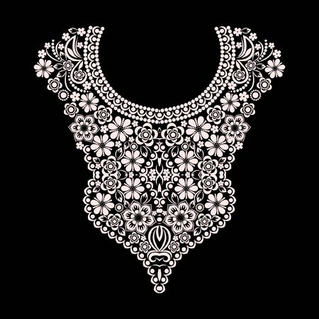 Neckline ethnic design. Floral black and white lace pattern. Vector print with decorative elements for embroidery, for women's clothing.