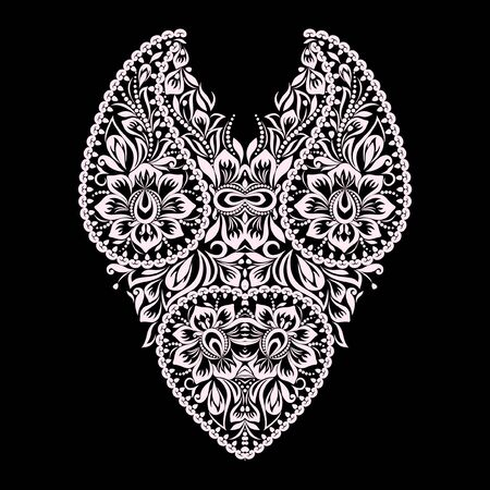 Neckline ethnic design. Floral black and white lace pattern. Vector print with paisley and flowers for embroidery, for women's clothing Vecteurs
