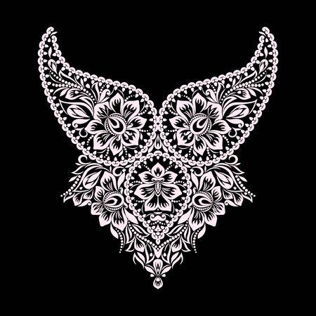 Décolleté design ethnique. Motif floral en dentelle noire et blanche. Impression vectorielle avec cachemire et fleurs pour la broderie, pour les vêtements pour femmes Vecteurs