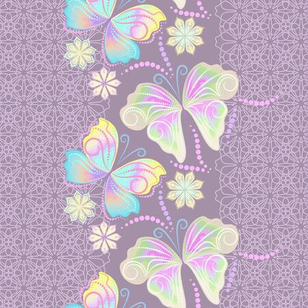 Lace butterflies and flowers, vertical seamless pattern and purple monochrome background. Vector print. Use for braid, tape, ribbon.