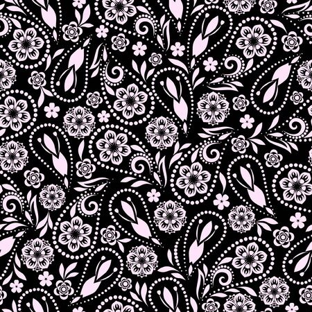 Seamless black and white pattern with paisley and flowers. Traditional ethnic ornament, vector background.