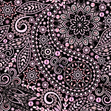 Seamless colorful pattern with paisley. Traditional bright ethnic ornament. Vector print. Use for wallpaper, pattern fills,textile design.  イラスト・ベクター素材