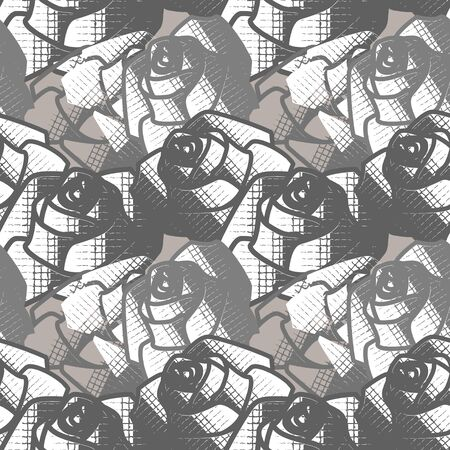 Seamless geometric abstract black and white pattern with roses. Vector clipart.  イラスト・ベクター素材
