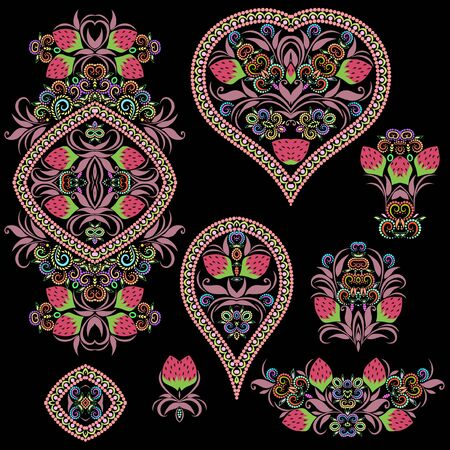 Bright bohemian ethnic cliche with berries and decorative elements. Vector set of various ornaments, deco template. Oriental trendy print for decoration, gift, design, for womens clothing.  イラスト・ベクター素材